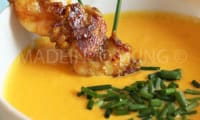 Soupe froide de carottes, poivrons et maïs