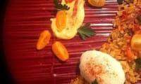 Paella au chorizo et à l'oeuf mollet coulant
