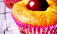 Muffins aux amandes et aux cerises