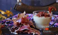 Verrines au velouté de topinambours et crumble de jambon Bellota