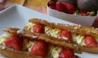 Eclairs rhubarbe, fruit de la passion, fraises