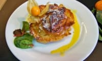 Croustades au foie gras, pommes et sauce aux clémentines corses