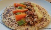 Collier d'agneau et légumes de printemps sur galettes de pois chiches