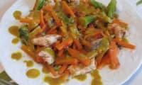Wok de poulet aux légumes, sauce d'orient