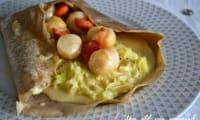 Galette de Saint Jacques fondue de poireau et sauce au cidre