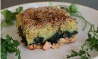 Parmentier de saumon aux épinards en croûte de noisettes