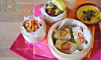 Vapeur de cabillaud et crevettes au curcuma et lait de coco