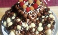 Gâteau vanille framboises aux boules de chocolat