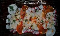 Carpaccio de Saint-Jacques à l'huile de homard, lomo et yuzu