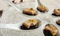 Cuillères de foie gras au chutney de cerises