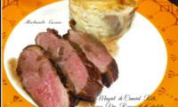 Magret de canard rôti, sauce vin rouge et échalotes, gratin de pommes de terre aux champignons