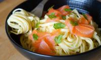 Spaghetti au saumon fumé