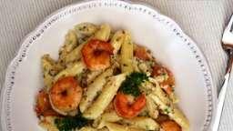 Pennes sauce parmesan, moutarde, quinoa et crevettes caramélisées au miel