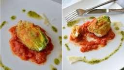 Fleur de courgette panée sur fondue de tomates et sauce basilic
