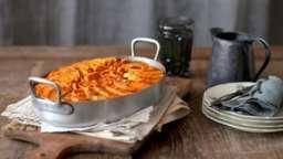 Gratin de patates douces kefta et légumes poêlés
