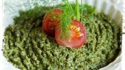 Pesto de laitue à la menthe, au fenouil , aux amandes et au gomasio