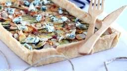 Tarte fine aux courgettes, bleu et amandes effilées