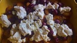 Gratin d'abricots et cerises à la ricotta, thym et balsamique