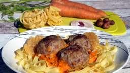 Tagliatelles aux boulettes fourrées au Curé Nantais