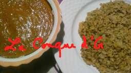 Riz à la crème de poivrons et pesto basilic