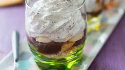Verrines crème de marron, banane et chantilly stracciatella