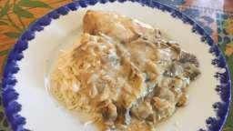 Escalopes de poulet crème, champignons, moutarde