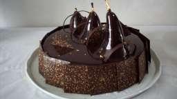 Entremet chocolat et poires flambées