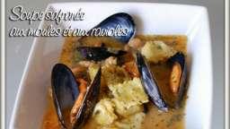 Soupe safranée aux moules et aux ravioles