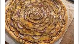 Tarte fine et moutardée aubergine et chèvre