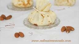 Aumônières de crêpes, crème au safran et à l'amande