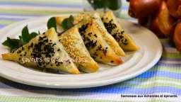Samossas aux échalotes, épinards et feta