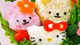 Bento kitty riz, légumes, croquette de pois chiche