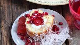 Gâteau roulé au mascarpone et grenade