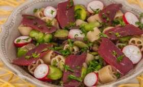 Salade de pâtes aux fèves, champignons et magret