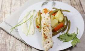 Aiguillettes de bar au légumes safran