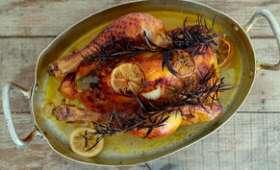 Poulet rôti au citron, miel et romarin