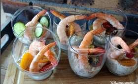 Verrines fraicheur au tzatziki et crevettes