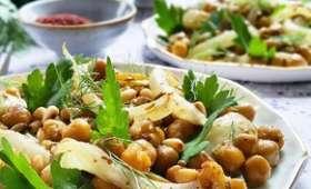 Salade de pois chiches, fenouil bulbe et graines rôties