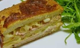 Croque cake au bacon tranches de rôti de porc à la mozzarella