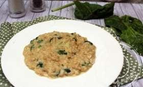 Risotto d'orge perlé, épinards frais et tomme de Savoie