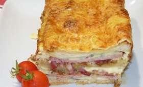 Croque cake rôti de porc et gorgonzola