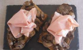 Bruschetta champignons truffés et mortadella