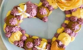 Heart cake ou tarte coeur hibiscus, vanille & myrtille