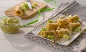 Crêpes roulées au curd kiwi en brochette