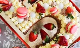 Number cake vanille et fraises