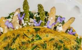 Omelette aux épinards et asperges