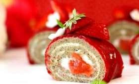 Roulé fraise - rhubarbe