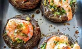Fonds d'artichauts grillés aux crevettes