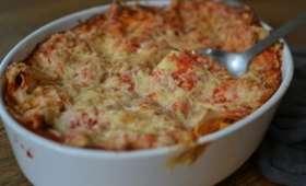 Lasagnes ricotta, courgettes, tomates, champignons, jambon etc.....