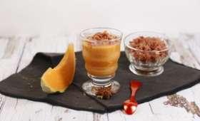 Gaspacho de melon tomate à l'anis et lard croquant